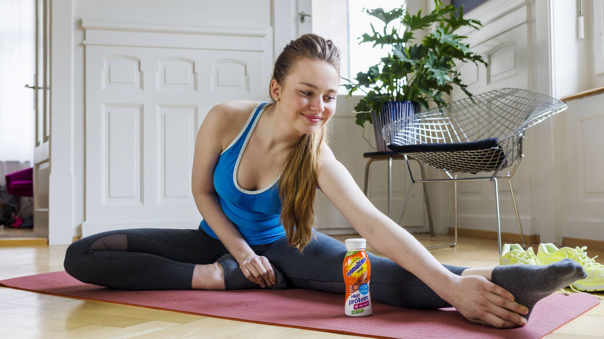Ovomaltine High Protein Drink beim Yoga